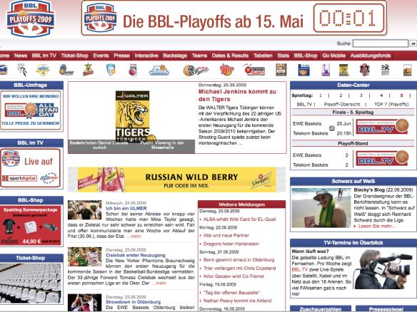webseite bei playoffs